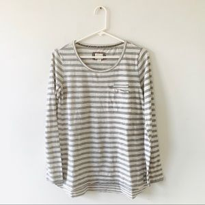 Anthropologie Postmark Grey Striped Tee Small